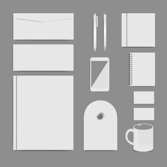 Conjunto de plantillas de identidad corporativa, diseño de marca, plantilla en blanco