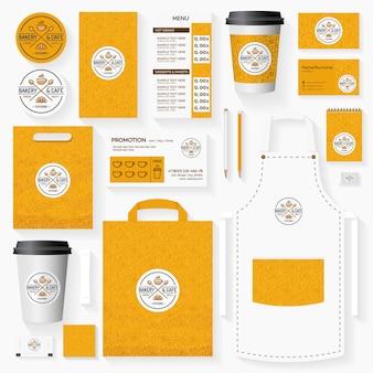Conjunto de plantillas de identidad corporativa de panadería y cafetería