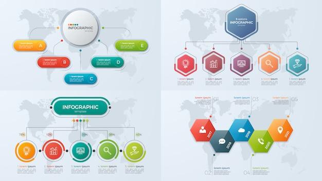 Conjunto de plantillas de infografía empresarial de presentación con 5 opciones