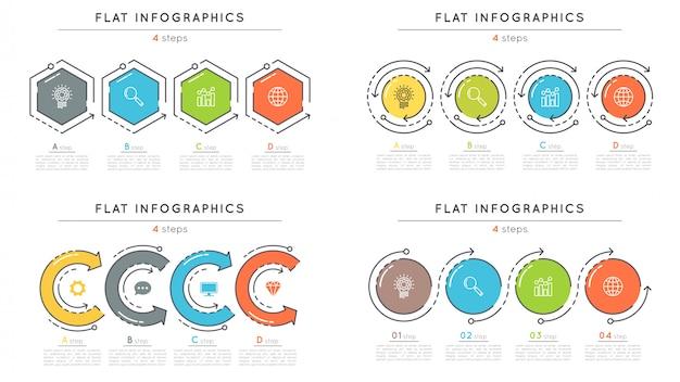 Conjunto de plantillas de infografía de línea de tiempo de pasos de estilo plano
