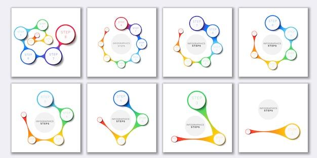 Conjunto de plantillas de infografía simple con iconos de marketing sobre fondo blanco.