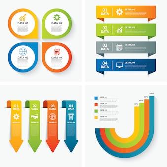 Conjunto de plantillas infográficas
