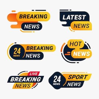 Conjunto de plantillas de información de mensaje de insignia de noticias de última hora
