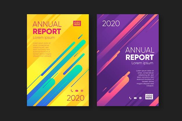 Conjunto de plantillas de informe anual abstracto colorido