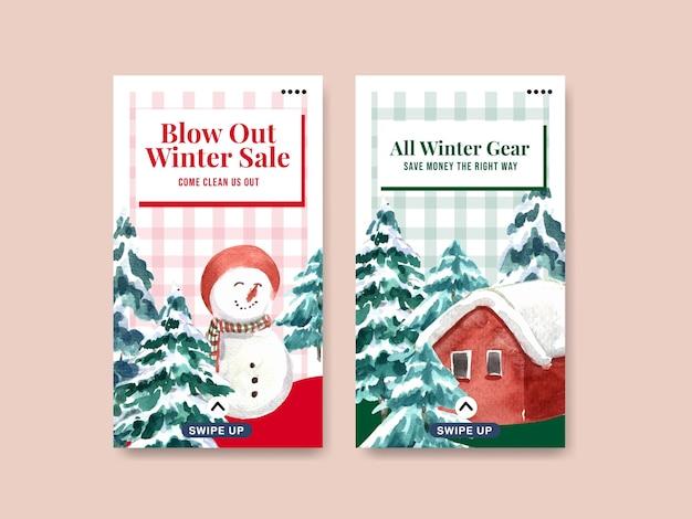 Conjunto de plantillas de instagram con rebajas de invierno para redes sociales en estilo acuarela
