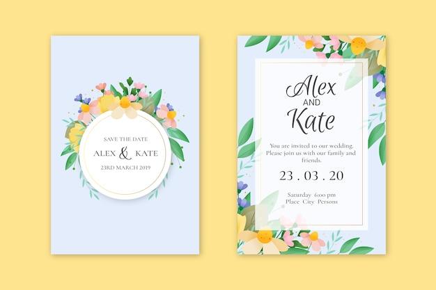 Conjunto de plantillas de invitación de boda elegante