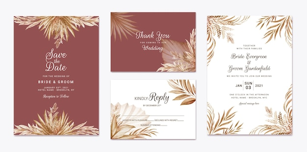 Conjunto de plantillas de invitación de boda floral. concepto de diseño de tarjeta botánica
