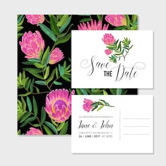 Conjunto de plantillas de invitación de boda con flores