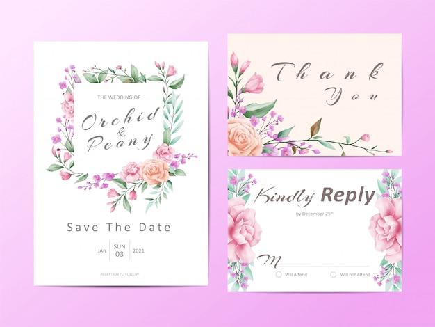 Conjunto de plantillas de invitación de boda hermosa de acuarela floral