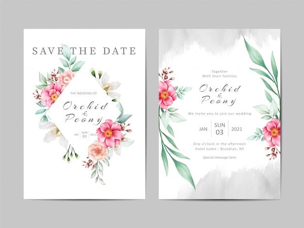 Conjunto de plantillas de invitación de boda hermosa de flores de peonías acuarelas