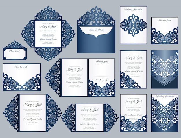 Conjunto de plantillas de invitación cortadas con láser o troqueladas. colección boda