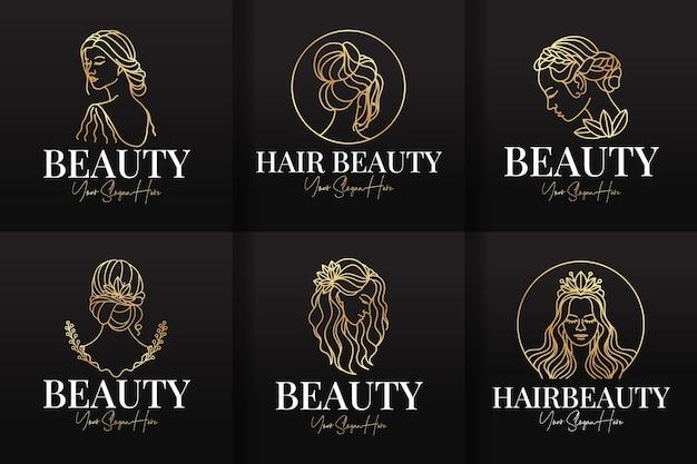 Conjunto de plantillas de lineas de logotipo de peluquería y belleza