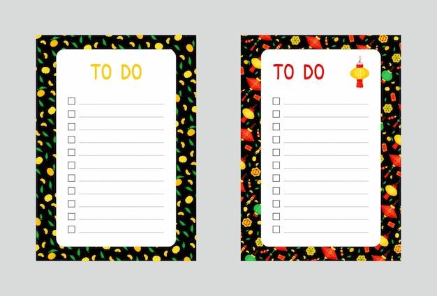 Conjunto de plantillas de listas de tareas pendientes. linternas chinas y mandarinas.