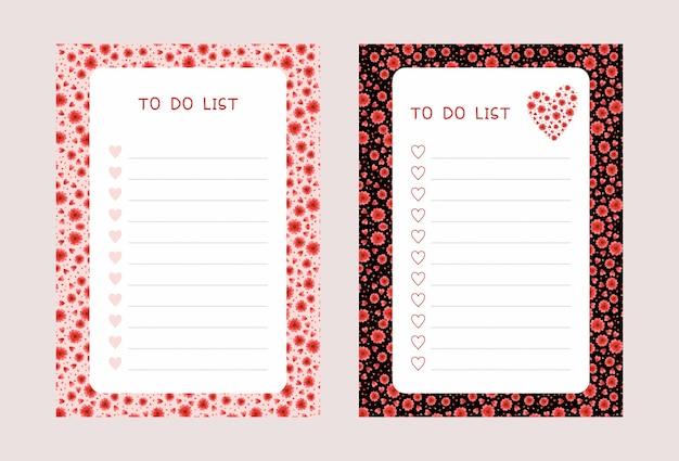 Conjunto de plantillas de listas de tareas pendientes. lista de verificación del bloc de notas con flores rojas y corazones