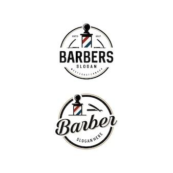 Conjunto de plantillas de logotipo de barber shop