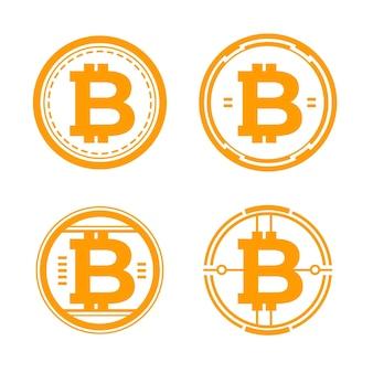 Conjunto de plantillas de logotipo de bitcoin de diseño plano