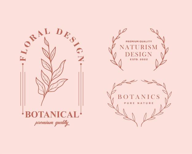 Conjunto de plantillas de logotipo botánico femenino dibujado a mano. ilustración floral retro con tipografía elegante.