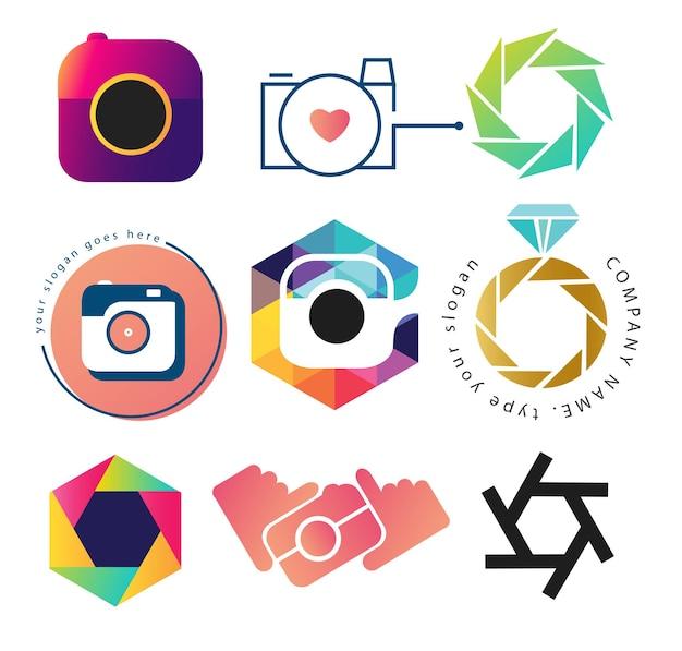 Conjunto de plantillas de logotipo de cámara de fotos