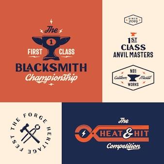Conjunto de plantillas de logotipo de campeonato de herrero
