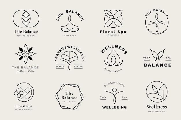 Conjunto de plantillas de logotipo de centro de salud vector gratuito
