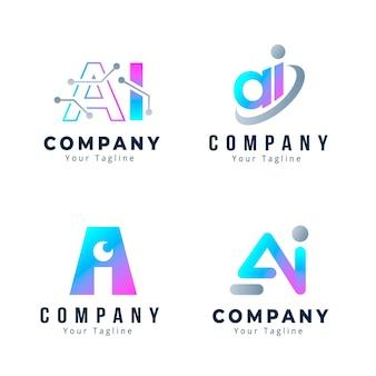 Conjunto de plantillas de logotipo degradado ai