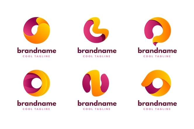 Conjunto de plantillas de logotipo degradado o