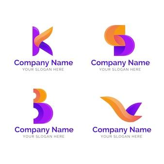 Conjunto de plantillas de logotipo degradado a