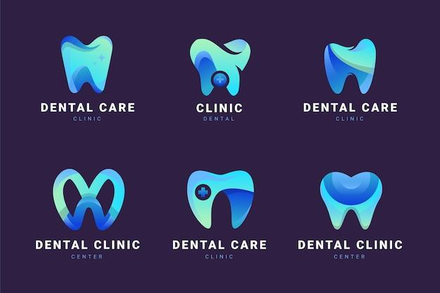 Conjunto de plantillas de logotipo dental degradado