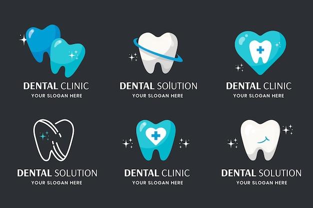 Conjunto de plantillas de logotipo dental de diseño plano