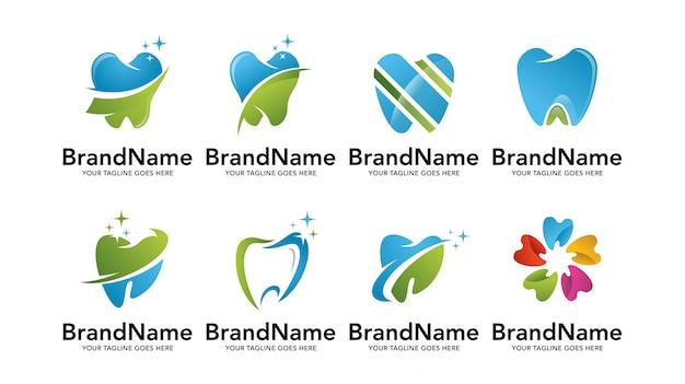Conjunto de plantillas de logotipo de dentista dental