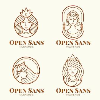 Conjunto de plantillas de logotipo de diosa plana lineal