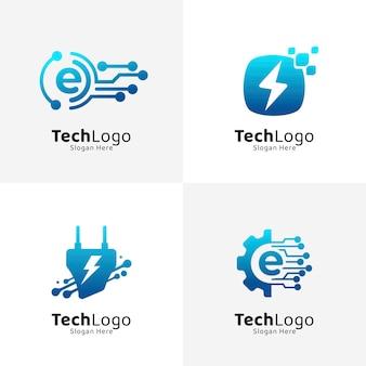 Conjunto de plantillas de logotipo de electrónica degradada