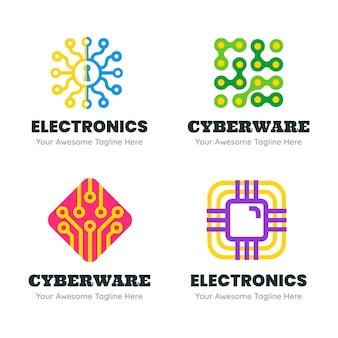 Conjunto de plantillas de logotipo de electrónica de diseño plano