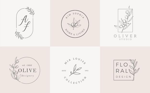 Conjunto de plantillas de logotipo. elegante diseño de logotipo con hojas, rama y corona.
