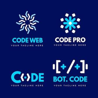 Conjunto de plantillas de logotipo de empresa de programación