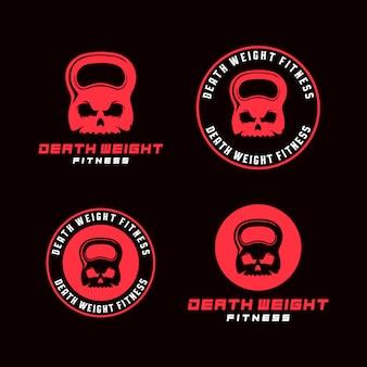 Conjunto de plantillas de logotipo fitness cráneo kettlebell
