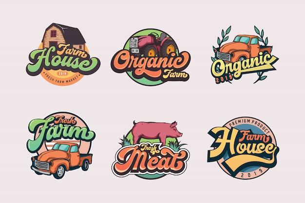 Conjunto de plantillas de logotipo de granjero vintage