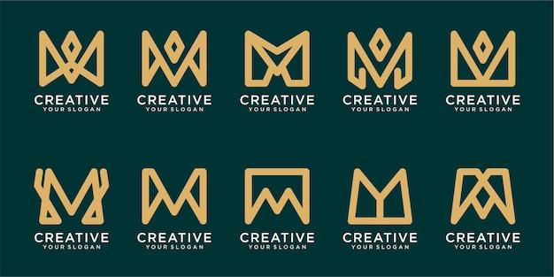 Conjunto de plantillas de logotipo de letra m inicial con líneas simples vector premium