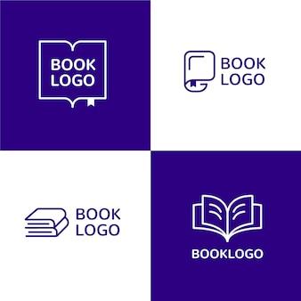 Conjunto de plantillas de logotipo de libro de diseño plano