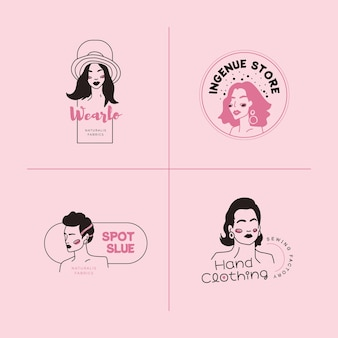 Conjunto de plantillas de logotipo de mujer de moda dibujada a mano. ilustración de vector de estilo doodle.