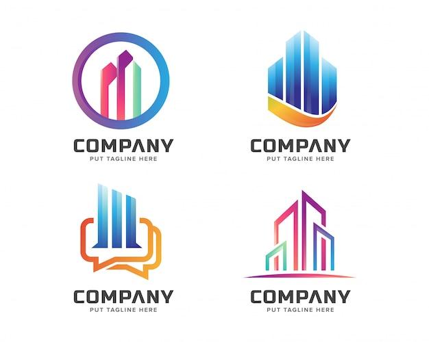Conjunto de plantillas de logotipo de negocios inmobiliarios