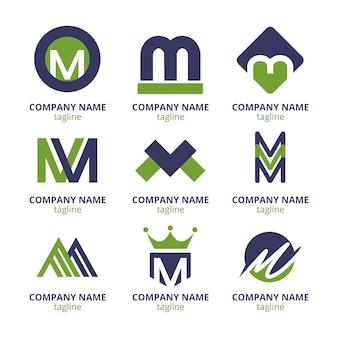 Conjunto de plantillas de logotipo plano m
