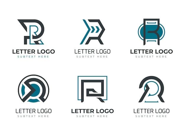Conjunto de plantillas de logotipo r planas