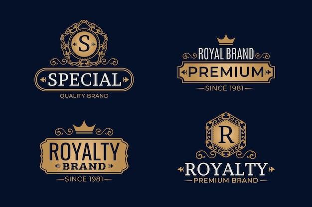 Conjunto de plantillas de logotipo retro de lujo