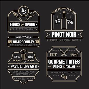 Conjunto de plantillas de logotipo retro de restaurante