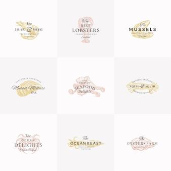 Conjunto de plantillas de logotipo, símbolos o signos abstractos de mariscos premium.
