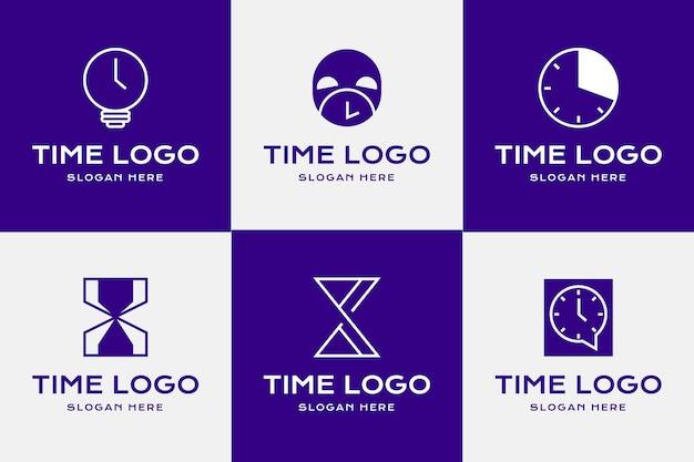 Conjunto de plantillas de logotipo de tiempo