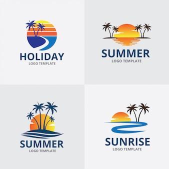 Conjunto de plantillas de logotipo de verano playa amanecer tema
