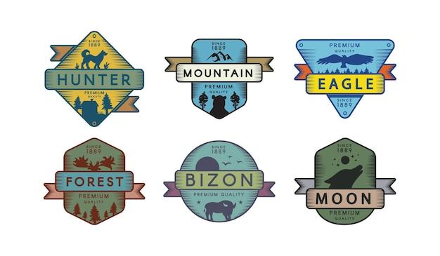 Conjunto de plantillas de logotipo de vida silvestre forestal. símbolo de reserva natural. cazador, águila, silueta de bizon