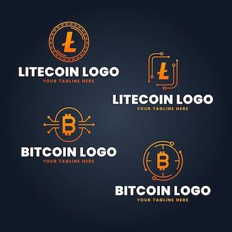 Conjunto de plantillas de logotipos de bitcoin planas